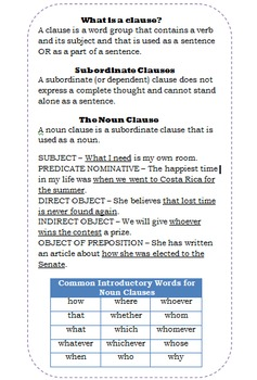 Noun Clauses Writer's Notebook Entry
