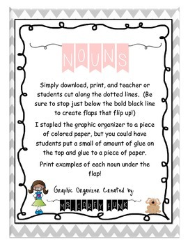 Noun Graphic Organizer Flip Book Flap Book