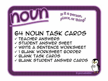 Noun: Is it a person, place, or thing? {64 Task Cards}