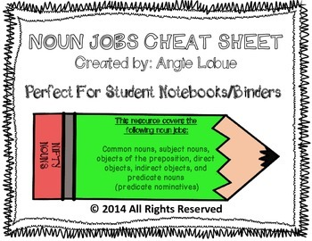 Noun Jobs Cheat Sheet: Perfect for Student Binders/Notebooks