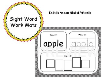 Noun Sight Word Work Mats