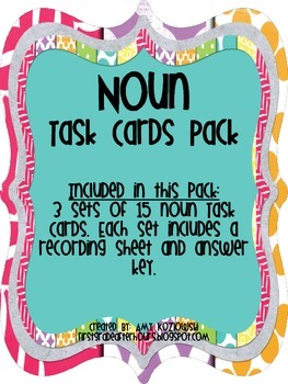 Noun Task Cards Pack