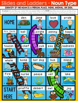 FREEBIE! Noun Types Slides and Ladders Game