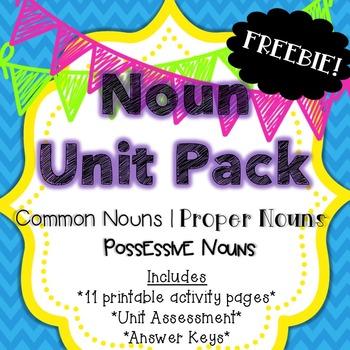 Noun Unit Pack Freebie {Common Nouns, Proper Nouns & Posse