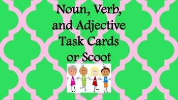 Noun, Verb, Adj Task Cards/ Literacy Center Activities/ Wo