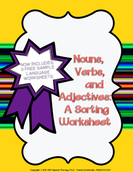 Nouns, Verbs, Adjectives Activity Now Includes Samples of