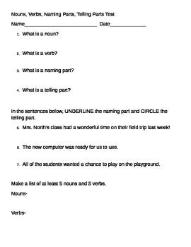 Noun, Verb, Naming Part, Telling Part Assessment