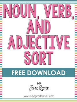 Noun, Verb, and Adjective Sort FREEBIE