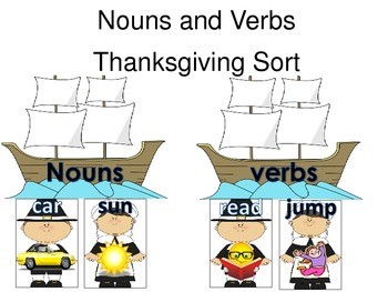 Noun and Verb Thankgiving Themed Word Sort Daily 5 Word Wo