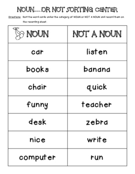 Noun or Not Sorting Center and Recording Sheet