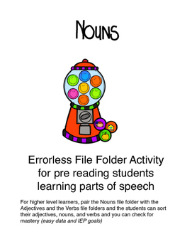 Nouns-Bubblegum-Errorless File Folder Activity for pre rea