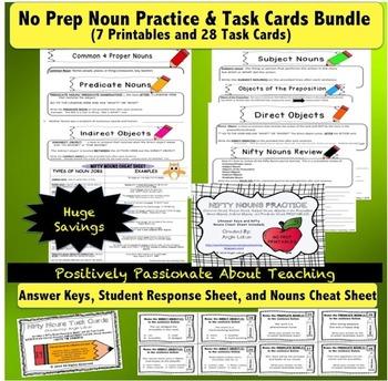 Noun Bundle: Task Cards, Printables, & Noun Cheat Sheet