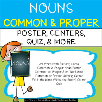 Nouns - Common and Proper UNIT - Word Cards, Centers, Quiz, Etc.