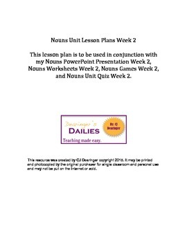 Nouns Lesson Plan Week 2: Plural Nouns