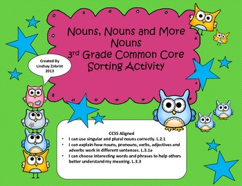 Nouns:2nd- 3rd Grade Common Core Sorting Activity