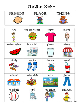 Nouns--Person, Place or Thing Sorting Center & Recording Sheet