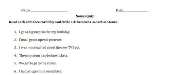 Nouns Quiz
