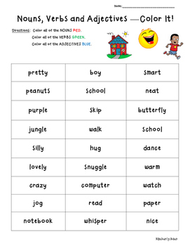 Nouns Verbs Adjectives Color Coding Practice Worksheet