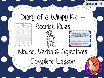 Nouns, Verbs and Adjectives; Complete Lesson  – Diary of a