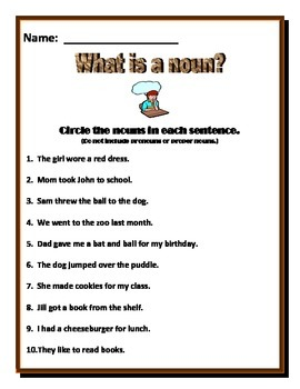 Nouns Worksheet - Identify the nouns -Aligned with Common Core