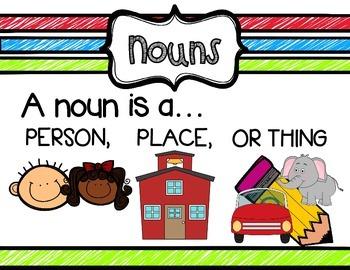 Nouns and Verbs Anchor Charts