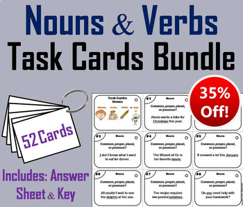 Nouns and Verbs Task Cards Bundle 2nd 3rd 4th Grade