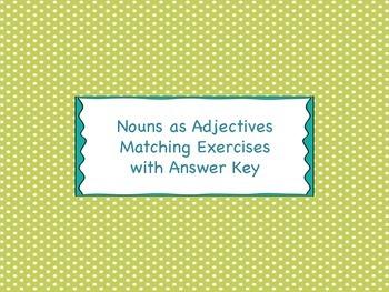 Nouns as Adjectives Matching Cards