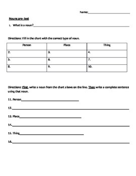 Nouns: common and proper nouns quiz/ worksheet