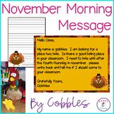 Thanksgiving Morning Message - Common Core ELA - Morning W