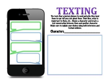 Novel Character Cell Phone Texting Activity