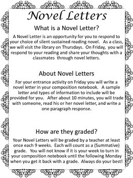 Novel Letters: Reading Response Writing