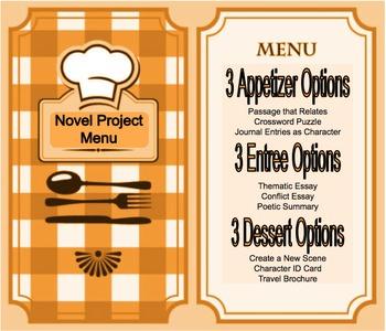 Novel Project Menu - Multiple Learning Styles