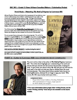 Novel Study - Book of Negroes by Lawrence Hill Culminating