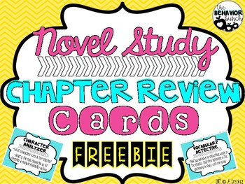 Novel Study Chapter Review & Comprehension Role Cards ~ FREEBIE