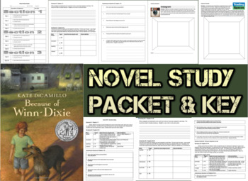 Novel Study Student Packet and Key for Because of Winn Dix