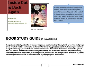 Novel Study for Inside Out and Back Again by Thanhha Lai b