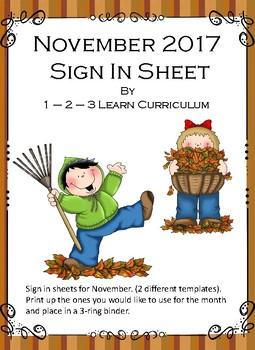 November 2016 Sign In Sheets - Editable