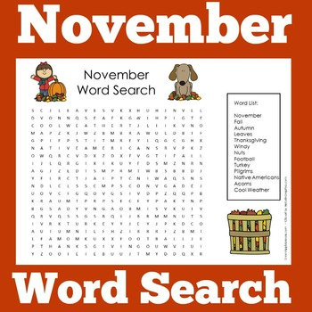 November Activity | November Word Search