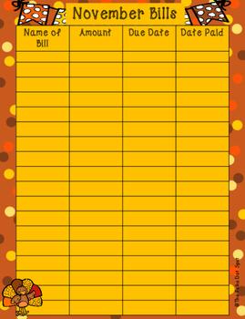 November Bill Tracker for your Planner!!