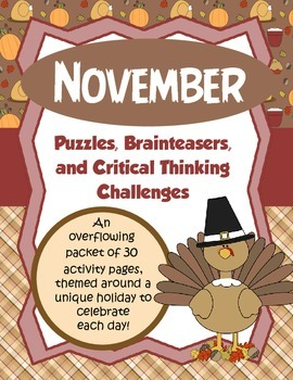 November Brain Teasers and Critical Thinking Challenges- E