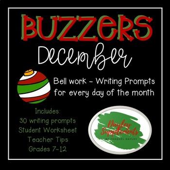 December Buzzer Packet (Bell Work-Journal) Common Core Wri
