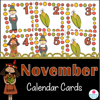 November Calendar Cards {Thanksgiving} Pilgrim Corn {Morni