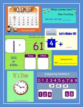 November Calendar ~ Math for Smartboard