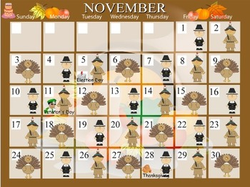 November Calendar - Mimio - Kindergarten / PreSchool
