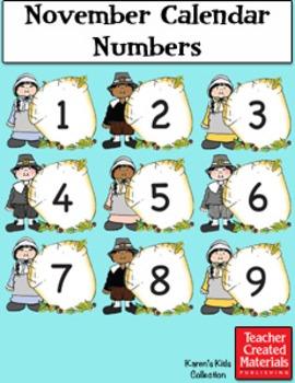 November Calendar Numbers by Karen's Kids (Digital Download)