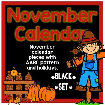 November Calendar Pieces - Black Set