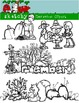 November Clipart / Graphics and Monthly Header 300dpi Colo