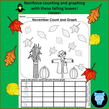 November Count, Color and Graph Freebie for Kindergarten