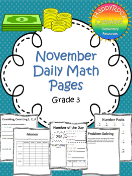 November Daily Math Pages (Focus on Money)