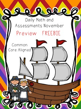 FREE WORKSHEETS - November Daily Math and Assessments Preview